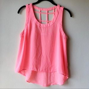 Bright Neon Pink Orange Cage Tank Top